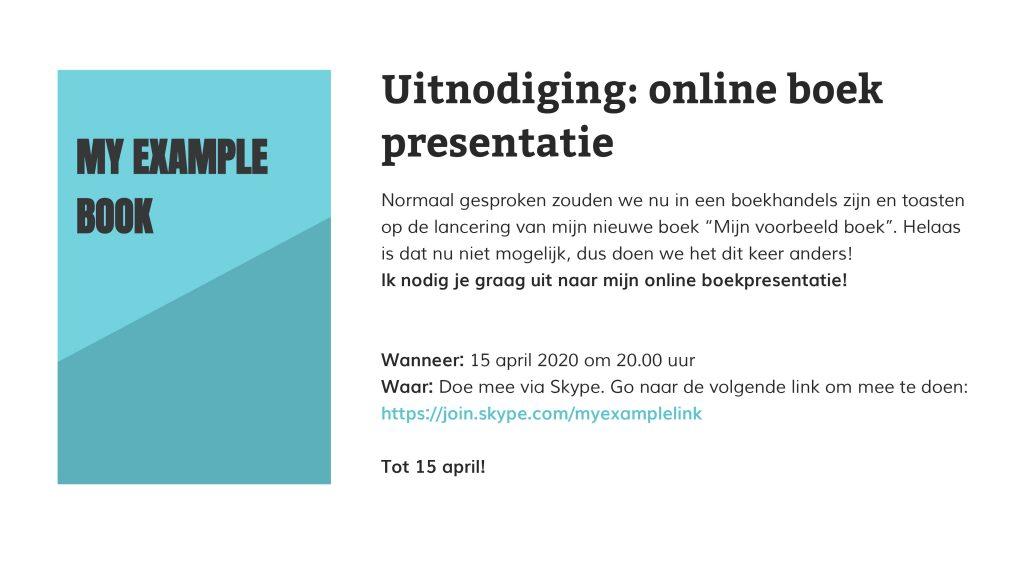 email uitnodiging voor een online boekpresentatie