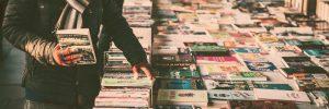 choosing books at the book fair